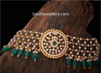 pearl choker with diamond pendant