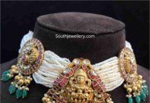 pearl choker with lakshmi pendant