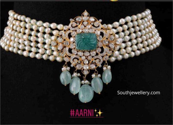 pearl choker with uncut diamond pendant