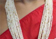 pearl mala with lakshmi pendant