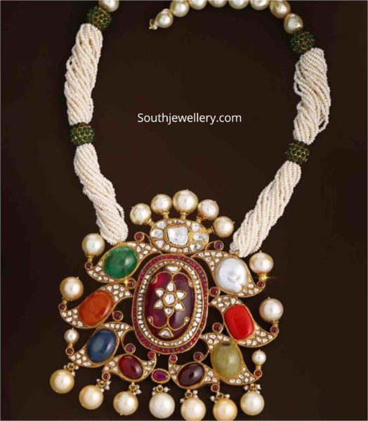 pearl necklace with navrathan pendant