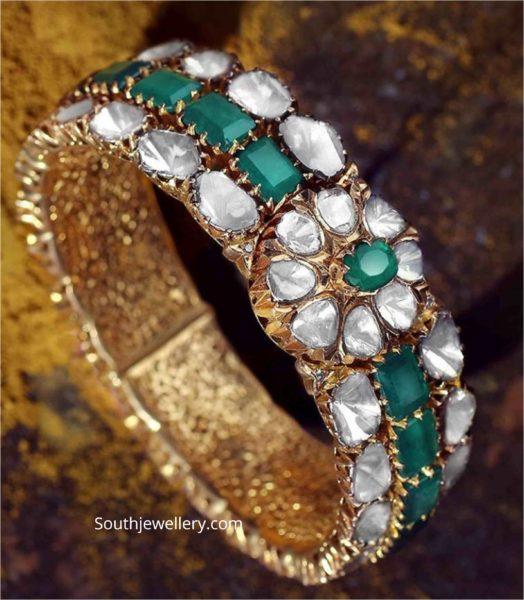 polki diamond and emerald bangle