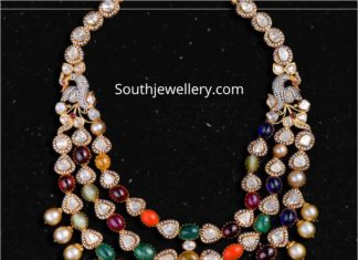 polki diamond and navrathan necklace