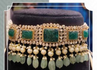 polki emerald choker and earrings