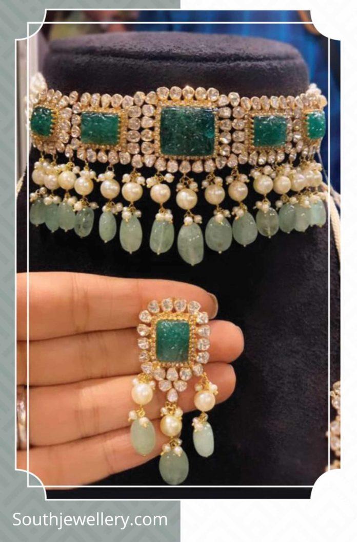 polki emerald choker and earrings