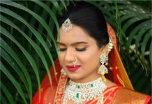 south indian bride diamond emerald jewellery