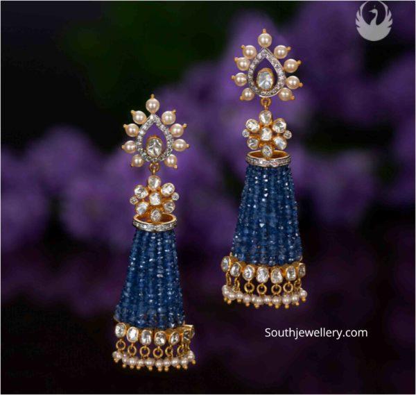 tassel earrings 22k gold with beads (2)