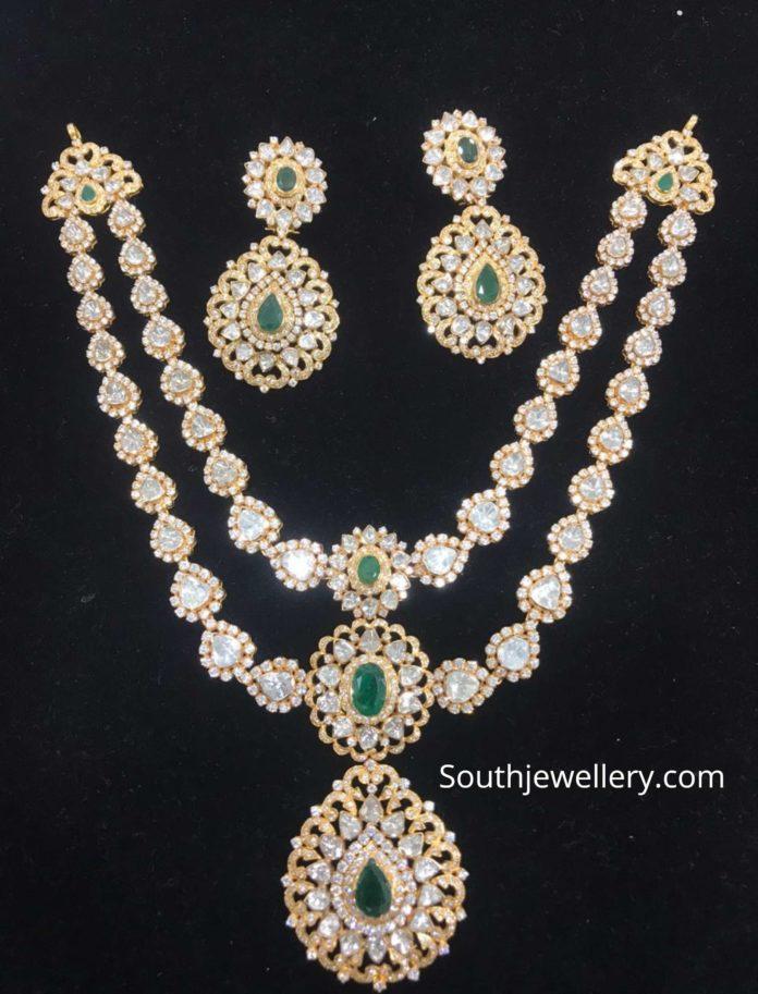 two step uncut diamond necklace set