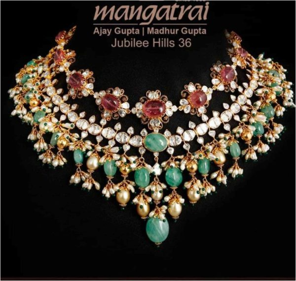 uncut diamond and emerald beads necklace
