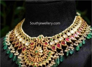 uncut diamond and ruby necklace