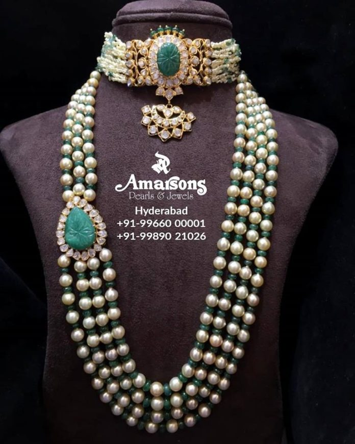 south sea pearl and emerald beads necklace