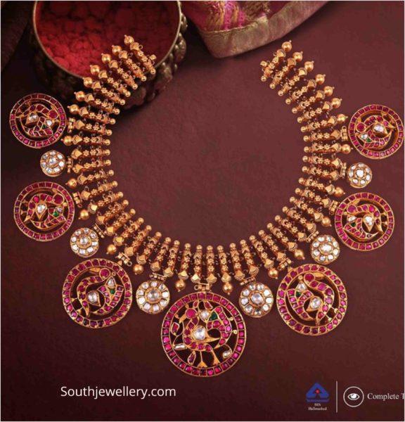 antique gold kundan peacock necklace