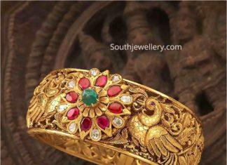 antique gold peacock kada