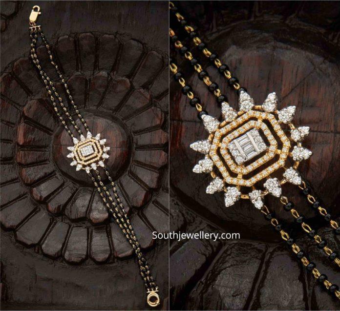 black beads bracelet with diamond pendant