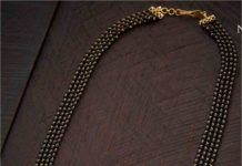 black beads mangalsutra with diamond pendants