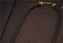 black beads mangalsutra with diamond pendants