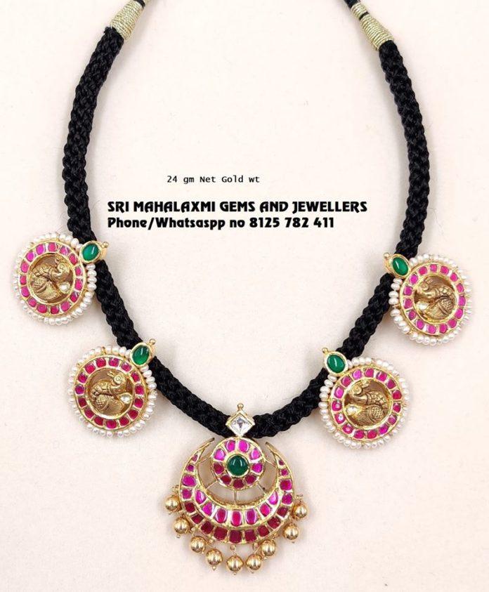 black thread bottu necklace