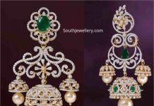 diamond emerald jhumki designs