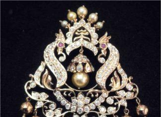 diamond peacock pendant