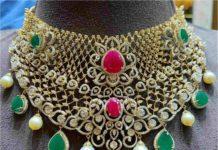 diamond ruby emerald choker p satyanarayan and sons