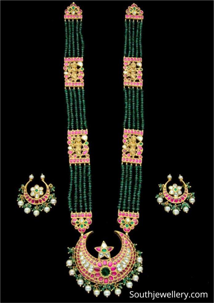 emerald beads and kundan haram