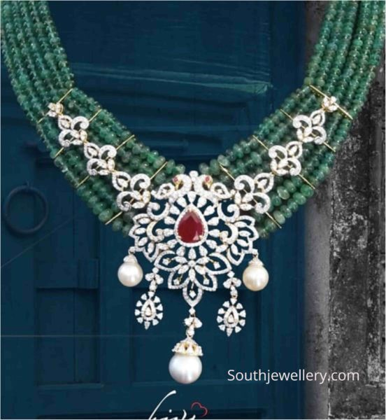 emerald beads necklace with diamond pendant (1)