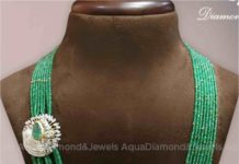 emerald beads necklace with diamond side pendant