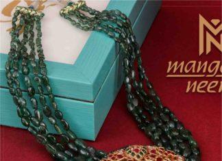 emerald beads necklace with kundan pendant