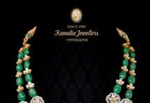 emerald beads polki necklace