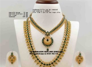 emerald necklace and haram set
