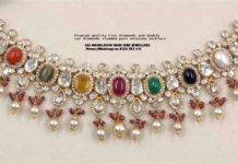 flat diamond navrathan choker
