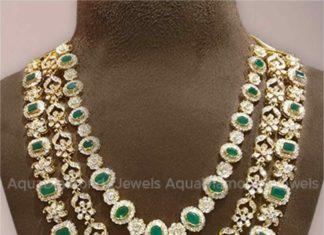 layered diamond emerald necklace
