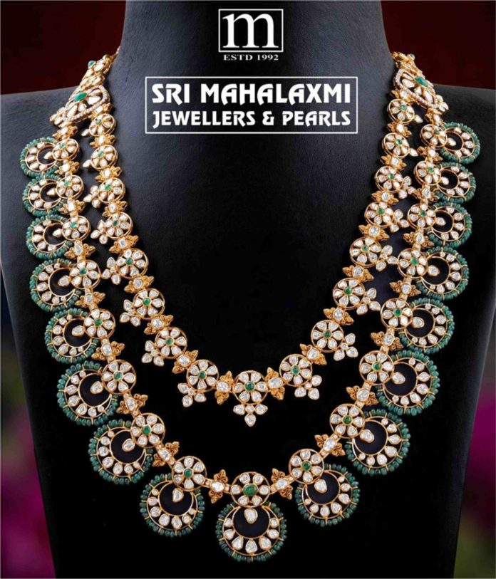 layered polki diamond necklace