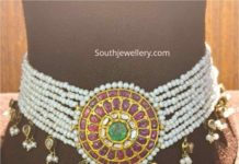 multi string pearl choker with kundan pendant