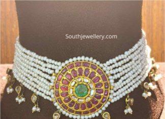 multi string pearl choker with kundan pendant