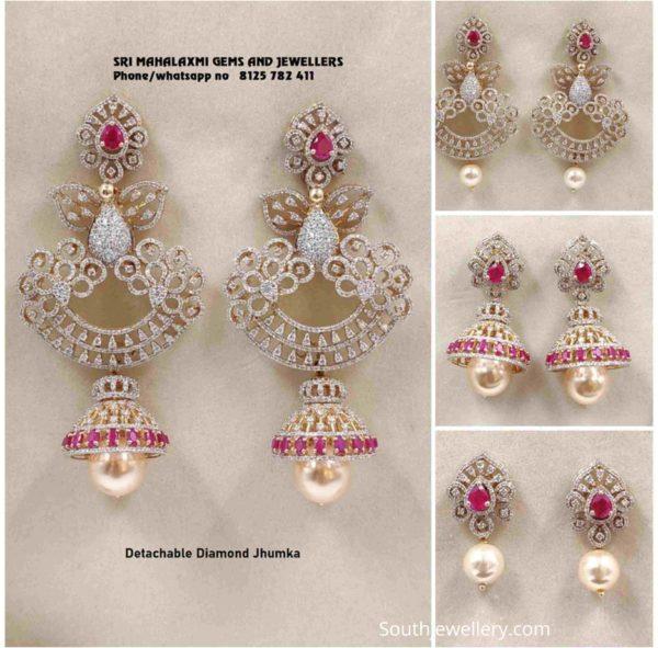 multi way detachable diamond jhumkas