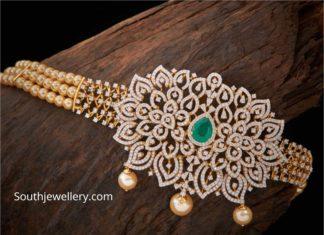 pearl choker with diamond pendant (1)