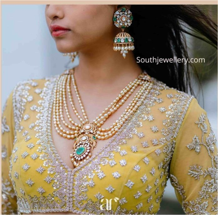 pearl necklace and polki jhumkas