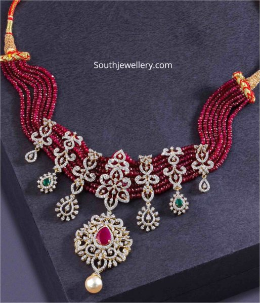 ruby beads necklace with diamond pendants