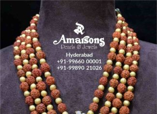 rudraksh beads mala with lakshmi pendant