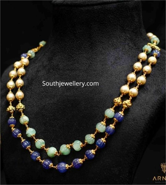 two line pearl and tanzanite beads necklace
