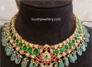 uncut diamond and emerald necklace