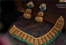 antique gold emerald necklace set