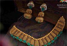 antique gold emerald necklace set