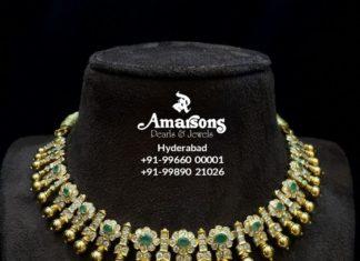 closed setting simple diamond necklace