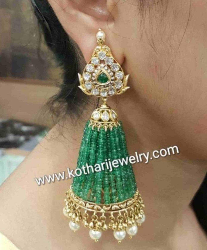 diamond emerald tassel jhumkas