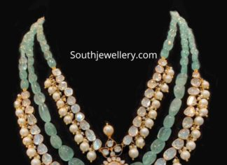 emerald beads and polki diamond necklace