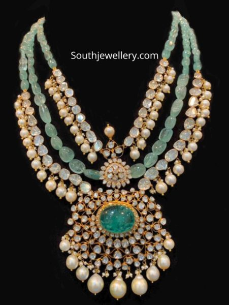 emerald beads and polki diamond necklace