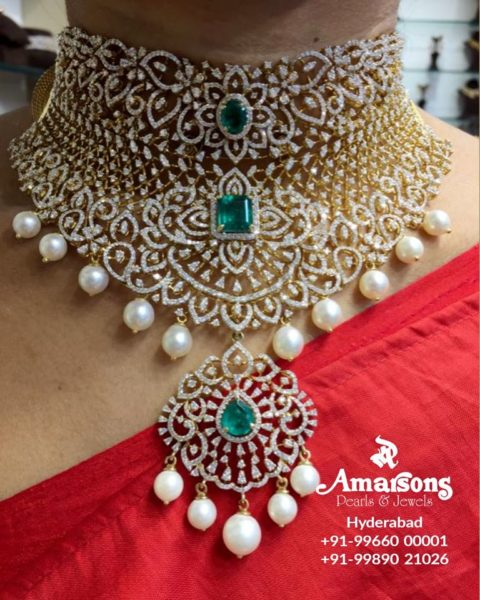 latest gold necklace designs amarsons pearls (2)