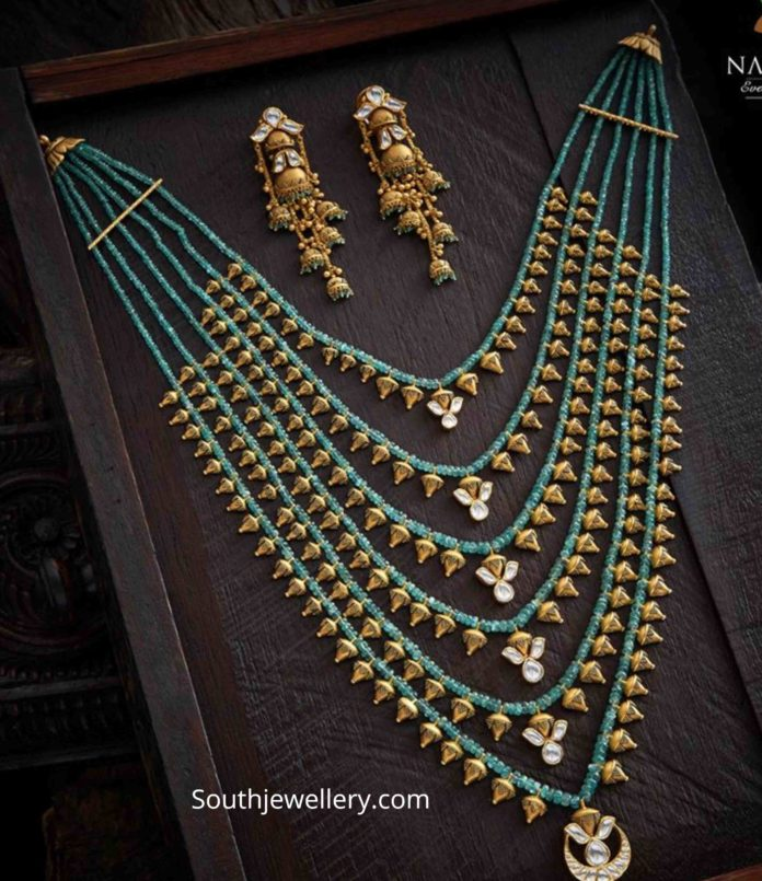 layered emerald beads satlada necklace